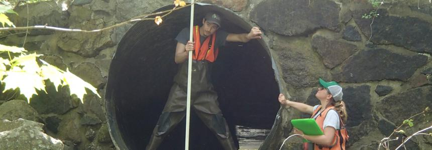 Photo of crossings surveyors measuring a culvert height