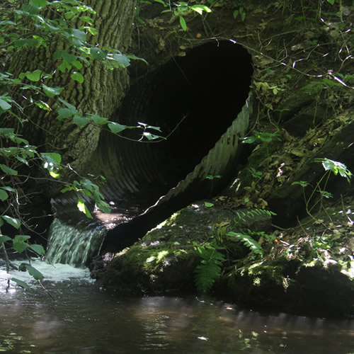 Photo of culvert with outlet drop